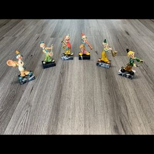 6 Vintage Norleans musical clown figurines